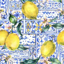 Watercolor Lemon Ornament Seamless Pattern