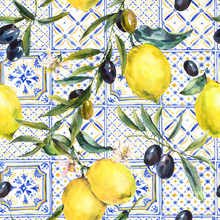 Watercolor Lemon, Olive Branch...