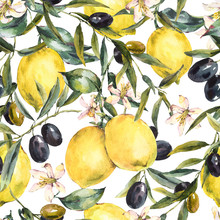 Watercolor Lemon And Olive Branches Seamless Pattern