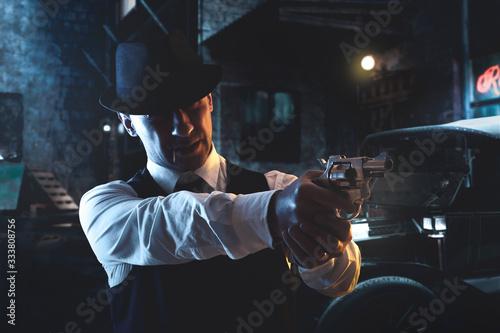 Fototapeta vintage Italian mafia gangster in 1930's in New York obraz