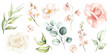 Leinwandbild Motiv Watercolour floral illustration set. DIY flower, green leaves elements collection - for bouquets, wreaths, arrangements, wedding invitations, anniversary, birthday, postcards, greetings, cards, logo.
