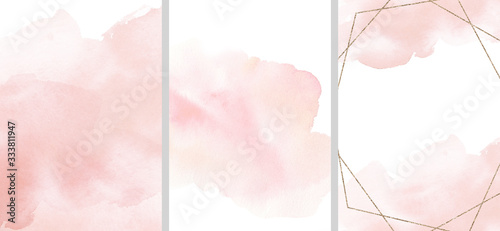 Obraz Watercolor abstract illustration set - collection of pink textures, border, gold geometric wreath, for wedding, greetings, wallpaper, fashion, posters, background. Eucalyptus, olive, leaves, rose. - fototapety do salonu