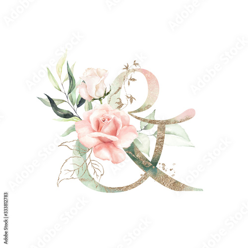 Gold Green Floral Alphabet - & ampersand with peach pink white gold green botanic flower branch bouquet composition Wallpaper Mural