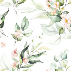 Fototapeta Romantyczny Seamless watercolor floral pattern - pink flowers, green leaves & branches on white background; for wrappers, wallpapers, postcards, greeting cards, wedding invitations, romantic events.
