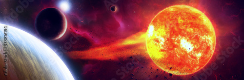 Photo Surreal 3d illustration of sun surface with solar flares burning planets