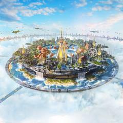 Artistic 3d illustration of a digital modern kingdom in the sky