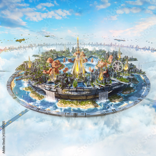 Artistic 3d illustration of a digital modern kingdom in the sky Canvas Print