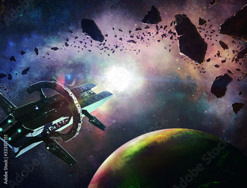 Abstract 3d illustration of an extraterrestrial aliens invasion spaceships float Canvas Print
