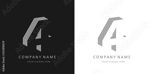 Fotografía 4 logo number modern design