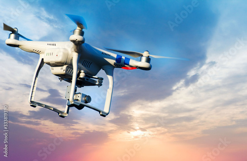 Photo New aircraft in the sky, new technology system in the sky