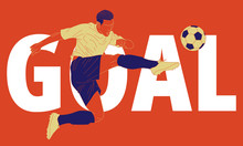 Illustration Of Football Soccer Player In Action