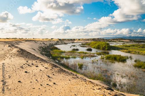 Scenic rural landscape, river, sand dunes, green hills. Guadalupe-Nipomo Dunes, California