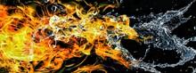 火と水が渦巻く抽象的...