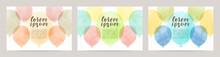 Watercolor Balloons Illustration Vector Card Set