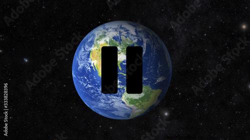 Fotografija Earth Globe with pause sign, quarantine concept