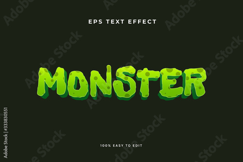 Foto Green monster zombie text effect