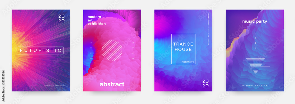 Abstract gradient poster. Music event flyer with vibrant colors and minimal geometric shapes. Vector image modern title design template color space texture for background illustration or cover