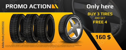 Fototapeta Realistic tire banner. Car wheel repair and auto rubber advertising flyer, automobile information brochure with tyre sale offer. Vector image quality auto service promo poster obraz