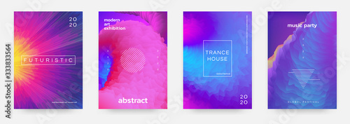 Fototapeta Abstract gradient poster. Music event flyer with vibrant colors and minimal geometric shapes. Vector image modern title design template color space texture for background illustration or cover obraz