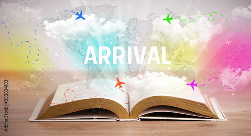 Open book with ARRIVAL inscription, vacation concept Wallpaper Mural