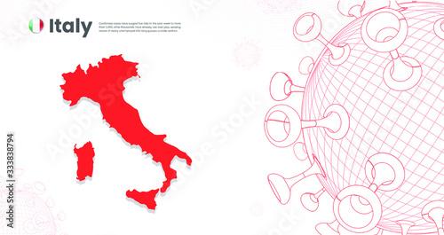 Photo Italy Map infected with Corona Virus Epidemic, global pandemic viruses virology