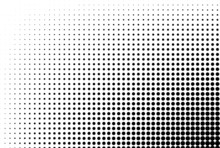 Dotted Gradient Vector Illustration, White And Black Halftone Background, Horizontal Seamless Dotted Lines, Monochrome Dots Texture Backdrop, Retro Effect