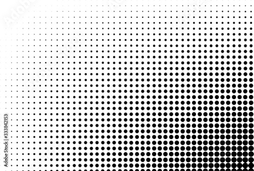 Dotted gradient vector illustration, white and black halftone background, horizo Canvas