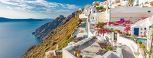 Panoramic View Of Santorini Island, Greece. Beautiful Summer Landscape