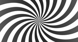 Sunburst background with black, white and gray rays. Spiral curved rotating background with rays.