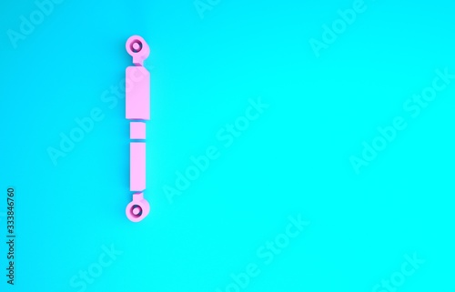 Pink Shock absorber icon isolated on blue background Canvas Print