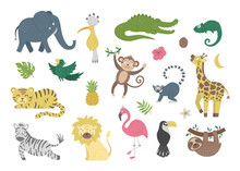 Vector Set With Cute Exotic An...