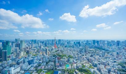 東京風景 2019年 夏空 東京タワーと大都会 緑と流れる雲 木漏日
