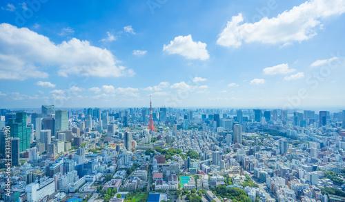 Fotografía 東京風景 2019年 夏空 東京タワーと大都会 緑と流れる雲 木漏日