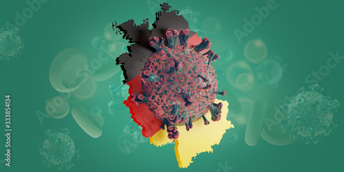 Germany outline and Coronavirus COVID-19 Virus cell Canvas Print