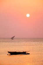 Fisherman Boats Silhouettes At...