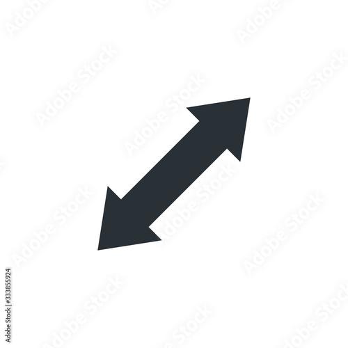 Photo flat vector image on white background, bidirectional arrow, expand icon