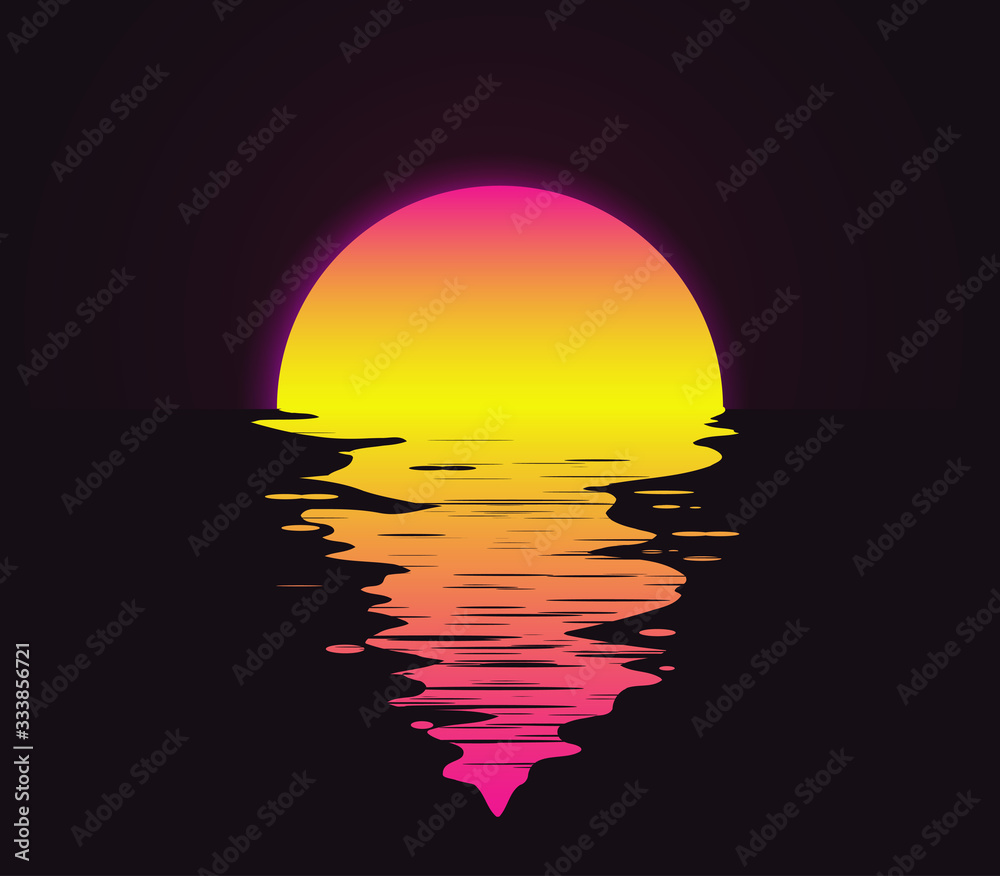 Fototapeta Retro vintage styled bright sunset with reflection on the water sea or ocean vector illustration.