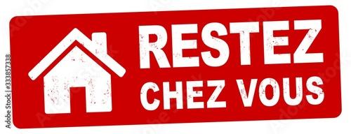nlsb1436 NewLongStampBanner nlsb - bannière de maison - étiquette français - panneau avec l'inscription du timbre: restez chez vous - prévention des coronavirus - 2comma6to1 xxl f9336