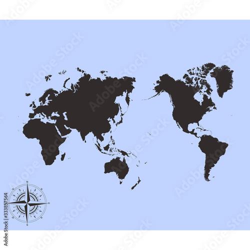 Obraz na plátně vector monochrome Pacific centred world map