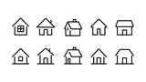 家ホームライン線画アイコンセット白黒