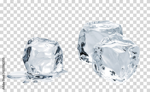 Photographie Melting crystal clear ice cubes on isolated background including clipping path