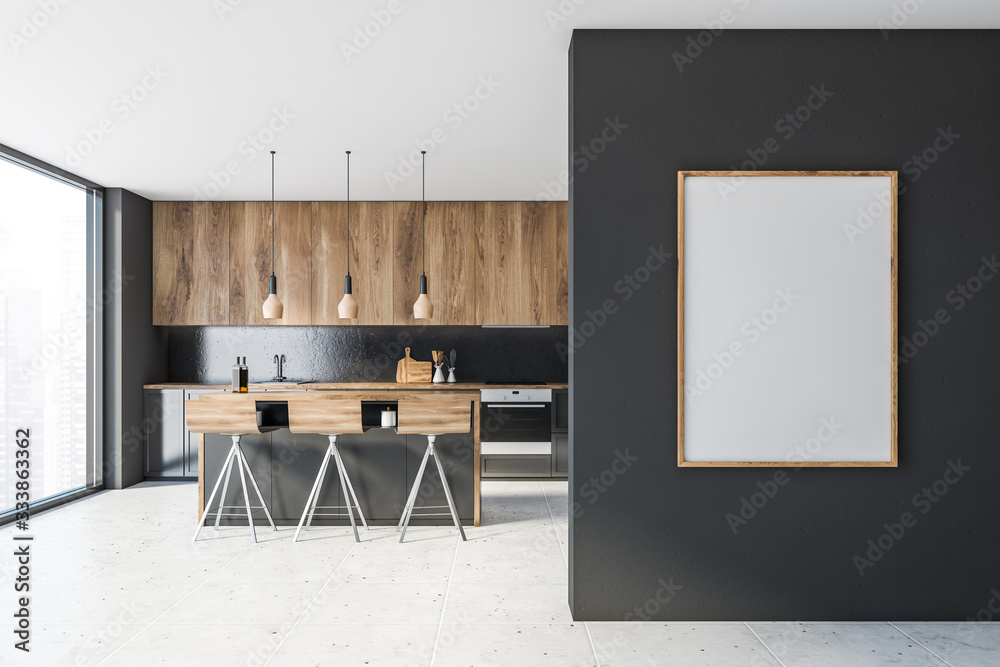 Fototapeta Gray and wooden kitchen with bar and poster
