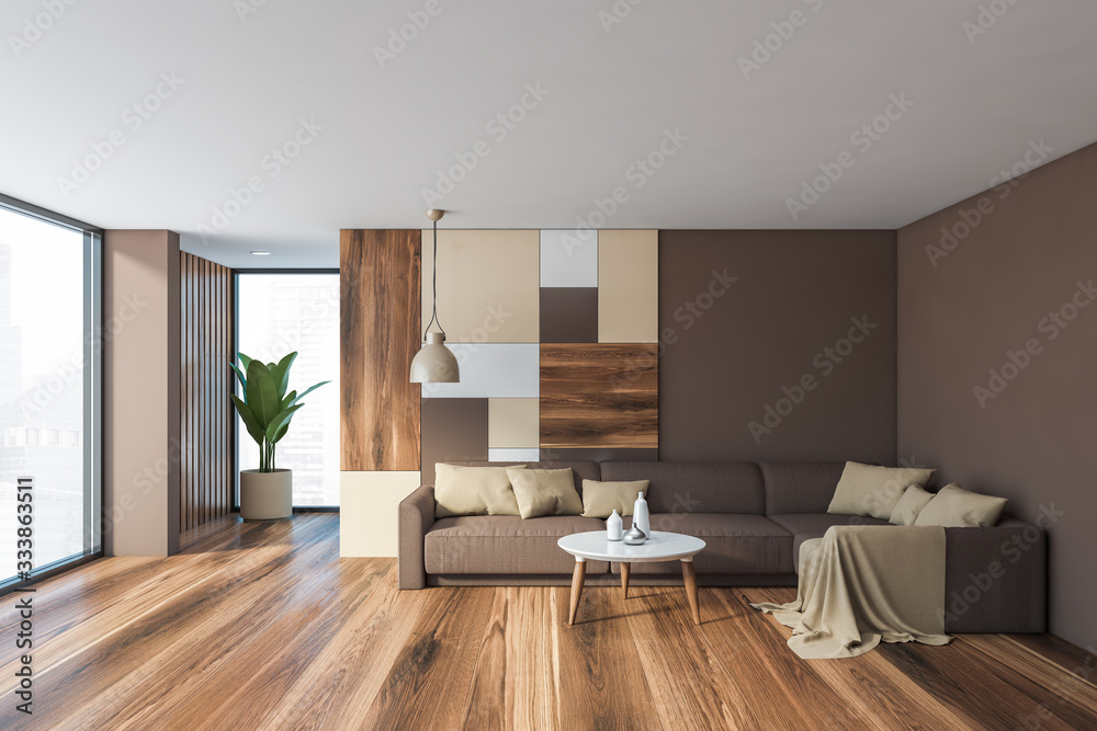 Fototapeta Gray living room interior with brown sofa