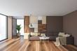 Leinwanddruck Bild - Gray living room interior with brown sofa
