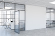 White office corridor with mock up wall
