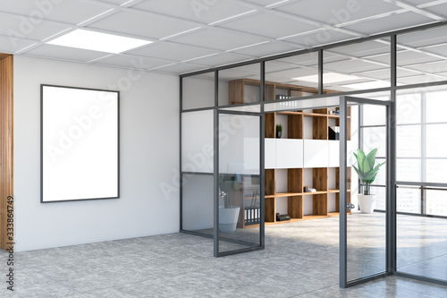 White office hall interior with mock up poster
