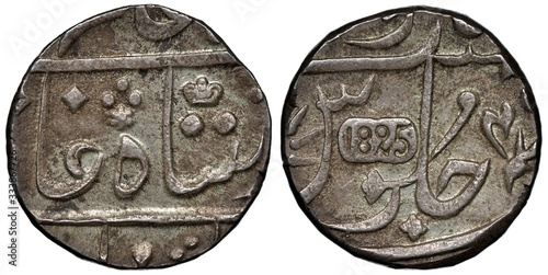 British East India Company silver coin 1 one rupee 1825, Bombay Presidency, smal Canvas-taulu