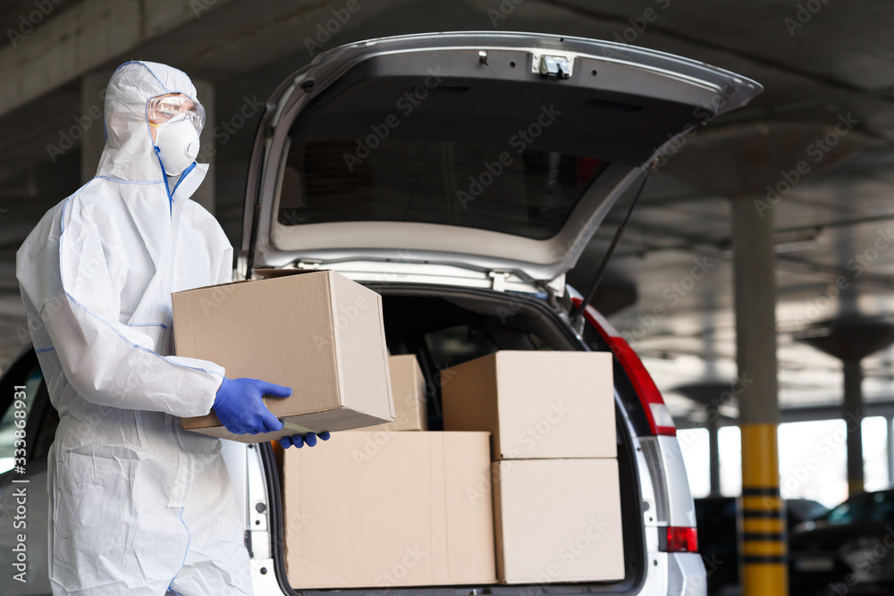 Fototapeta Delivery of essential goods to people, quarantine time