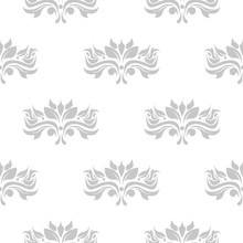 Floral Seamless Background. Gray Pattern On White