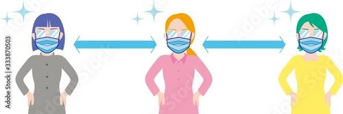 Fototapeta マスクをして適度な距離を保つ女性たち